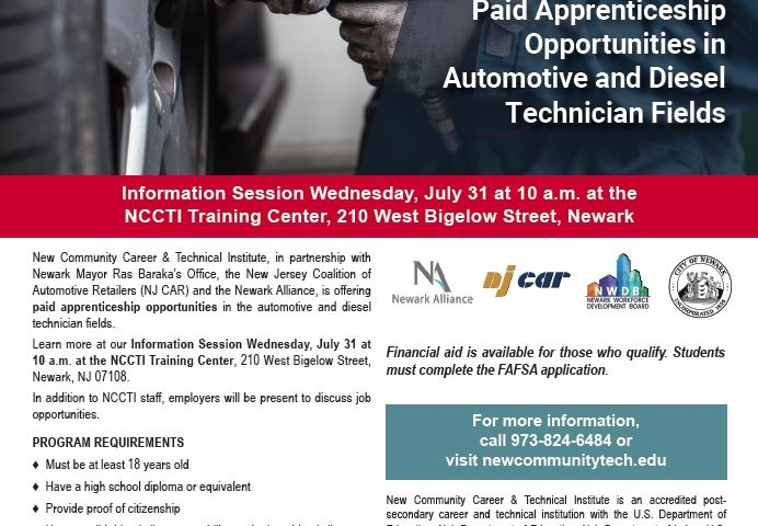 Flyer with information about the Paid Apprenticeship Opportunities Information Session
