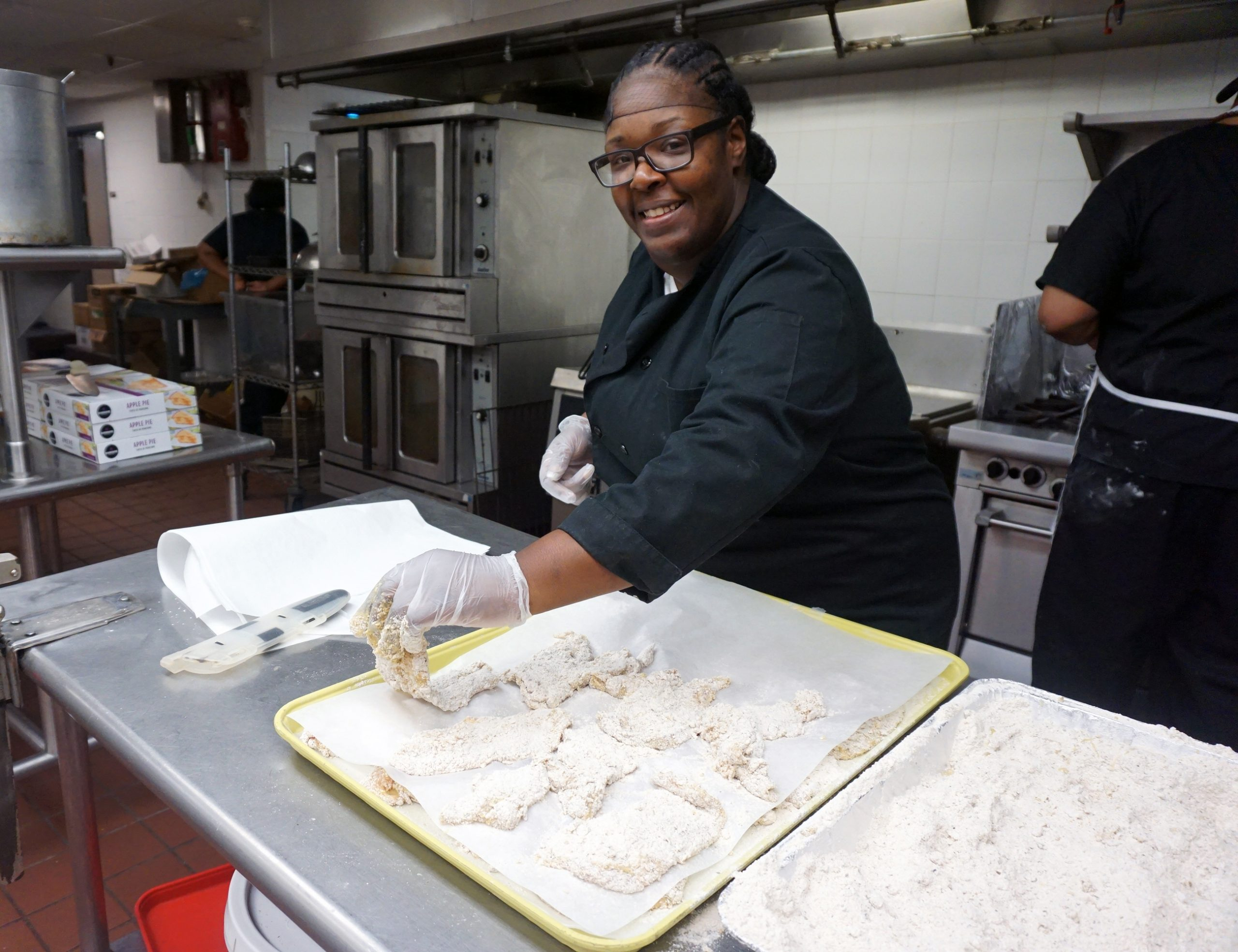Paula Moore working in the Extended Care kitchen.